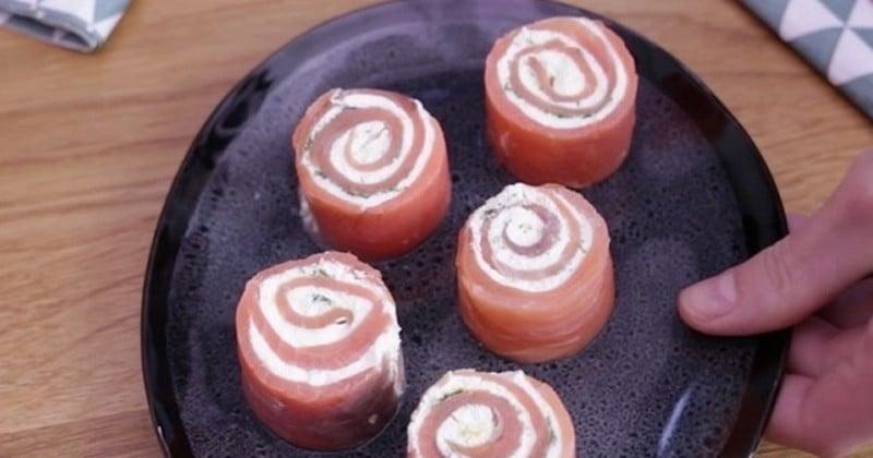 Ce soir, faites des roulés au saumon et au fromage frais et régalez tout le monde pour l'apéro !
