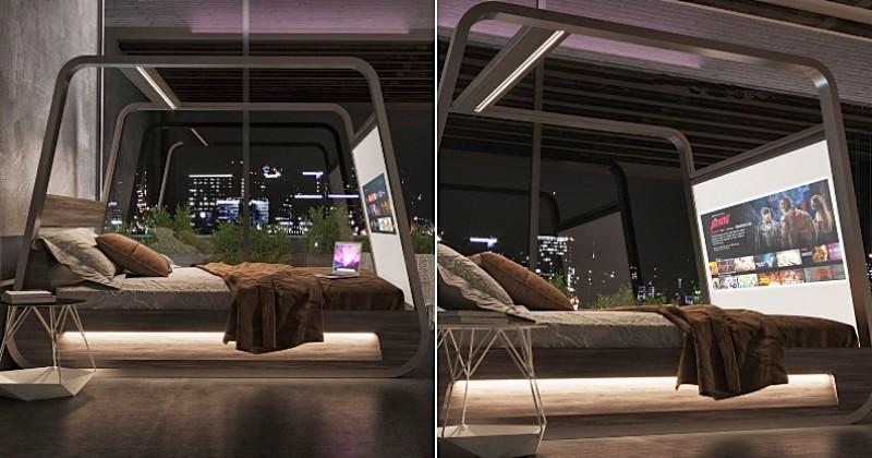 Ce lit équipé d'un vidéoprojecteur et d'enceintes est parfait pour regarder les séries et les films