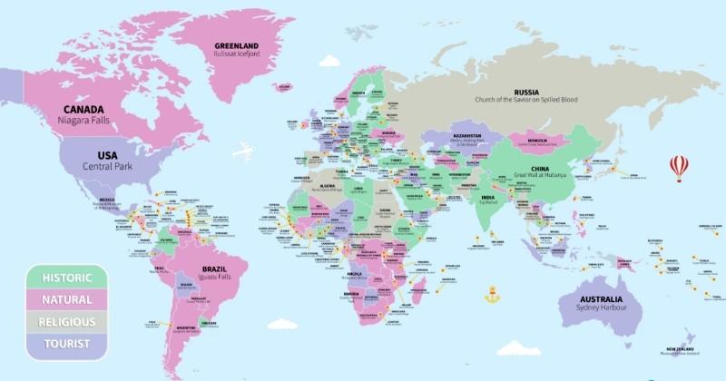 Grâce à cette carte du monde, découvrez les lieux incontournables dans chaque pays, pour ne pas perdre du temps !