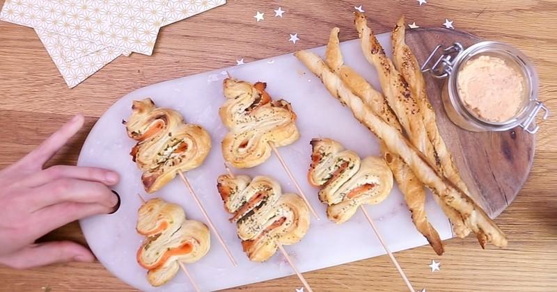 Apéro 100% noël : Croustillants sapins au saumon fumé d'Ecosse Guyader label rouge et ses savoureuses rillettes.
