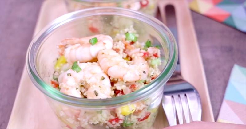 salade de taboulé aux crevettes