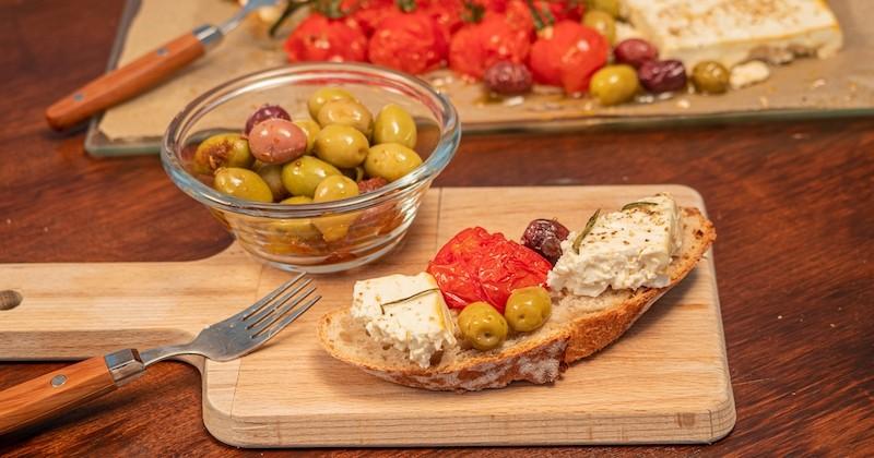 feta rôtie à l'huile d'olive