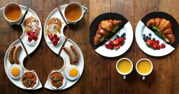 Tous les matins, cet homme très amoureux prépare des petits-déjeuners symétriques et poste les photos sur Instagram. Le résultat est parfait !