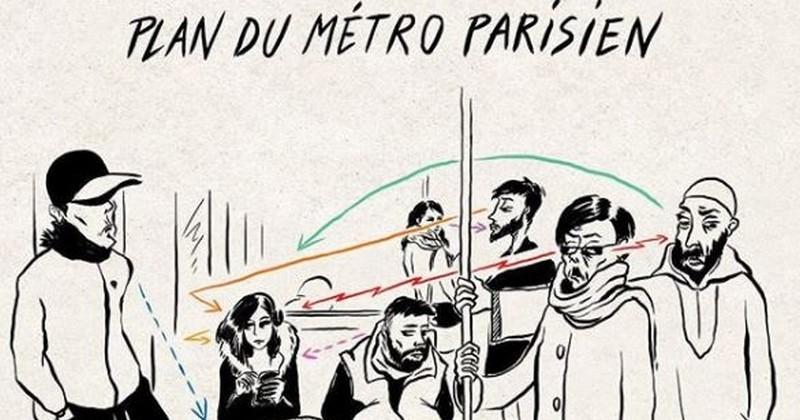20 dessins acerbes croquant les Parisiens dans divers lieux de la capitale