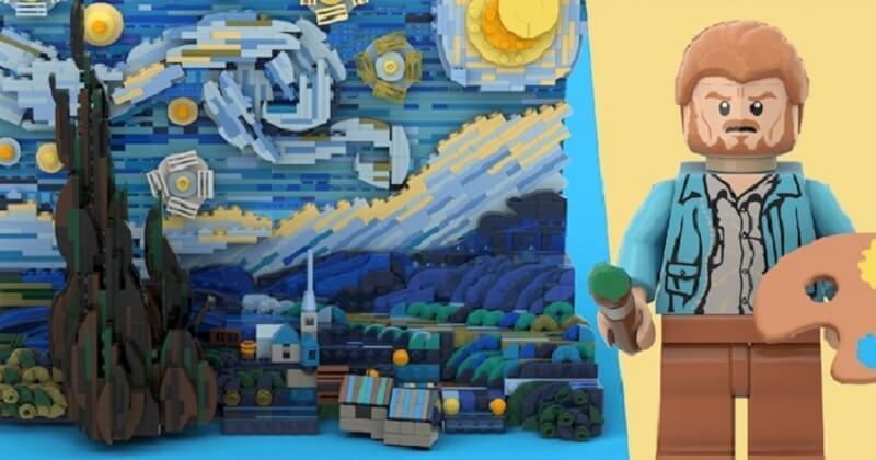 LEGO dévoile sa version de « La Nuit étoilée » de Van Gogh à reproduire chez soi
