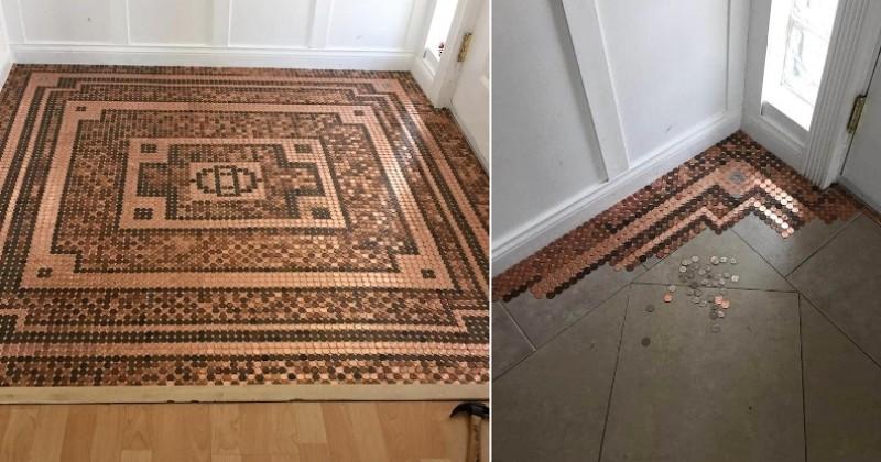 Après 3 semaines de travail et 7500 pièces de monnaie, cette mosaïque de sol est tout simplement magnifique