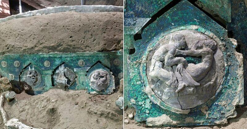 Le site archéologique de Pompéi révèle un grand char de cérémonie conservé dans un état exceptionnel