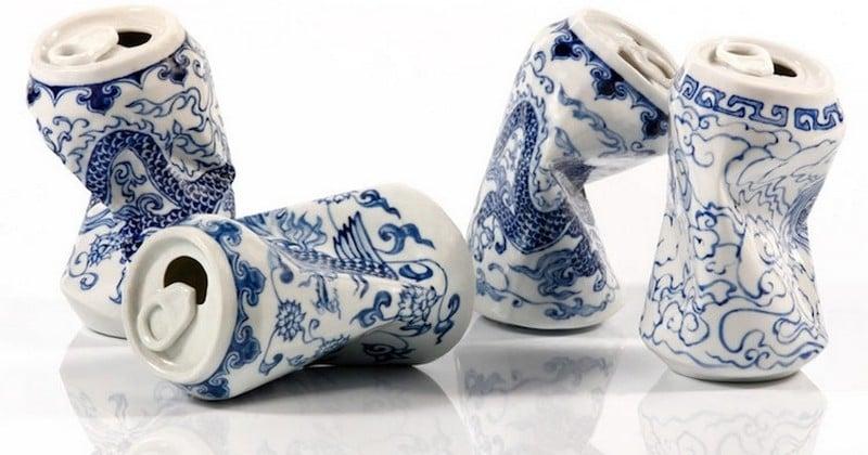Cet artiste sculpte d'incroyables canettes de soda écrasées... en porcelaine, et visuellement, c'est à s'y méprendre !