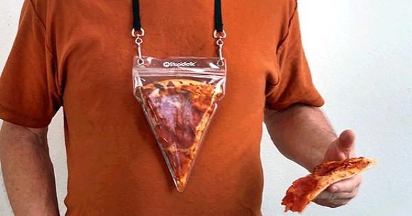 Le collier poche à pizza, pour toujours garder une part proche de votre coeur ! Les gourmands apprécieront...