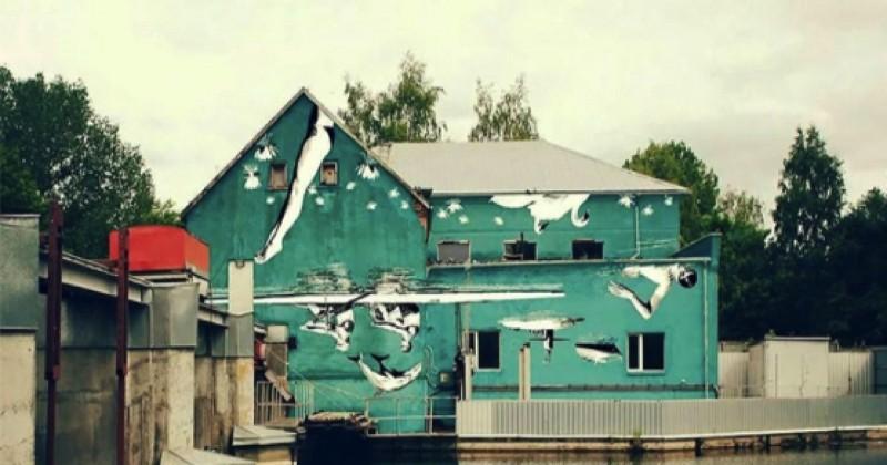 Quand une oeuvre de street art prend tout son sens grâce au reflet de l'eau