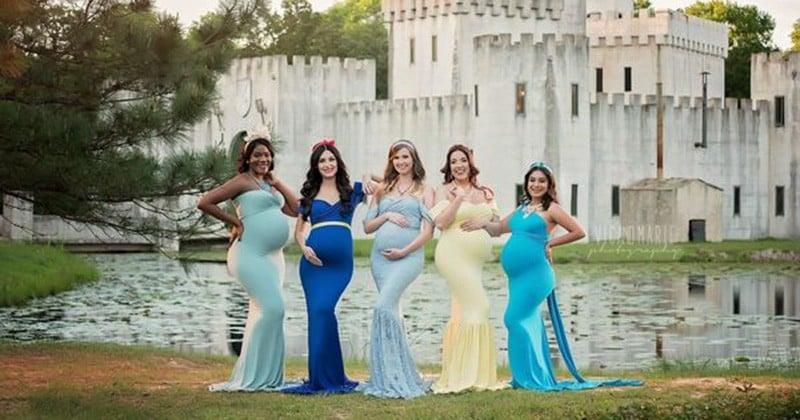 Cet incroyable photoshoot met en scène de futures mamans en robe de soirée inspirées de l'univers Disney. On dirait de véritables princesses !