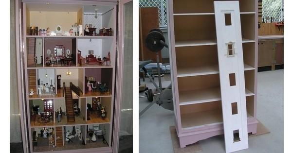 transformez un vieux placard en une formidable maison de poup es c 39 est si simple et pourtant. Black Bedroom Furniture Sets. Home Design Ideas