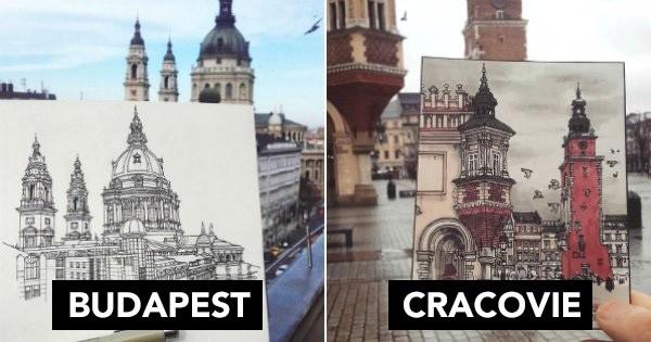 Ce talentueux dessinateur et voyageur a croqué en illustrations les plus beaux paysages des villes qu'il a traversées lors de son tour d'Europe