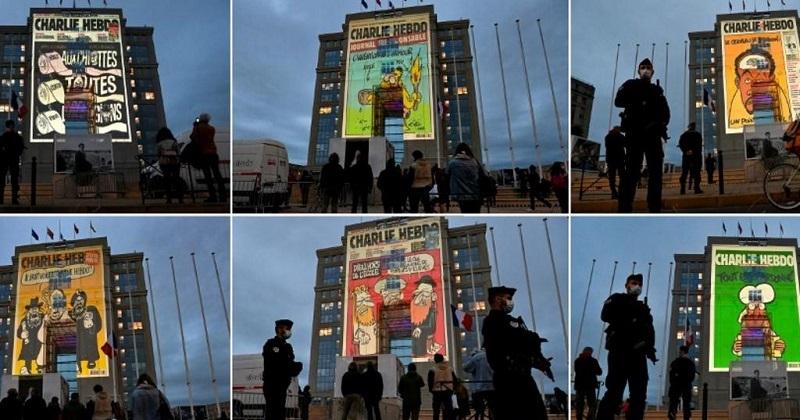 En hommage à Samuel Paty, 6 caricatures de Charlie Hebdo ont été projetées sur des façades d'hôtels à Toulouse et Montpellier