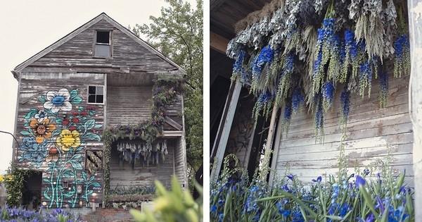 voil ce qui arrive quand une trentaine de fleuristes mettent la main sur une maison abandonn e. Black Bedroom Furniture Sets. Home Design Ideas