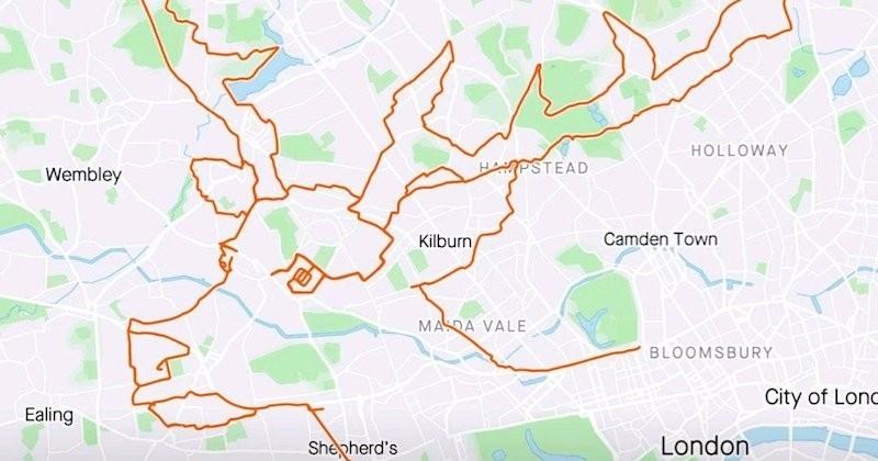 Un cycliste dessine un renne de Noël grâce à son GPS