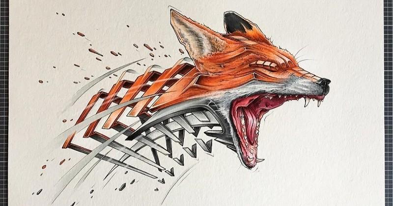 Ce dessinateur illustre des animaux sous leur forme squelettique d'une manière très réaliste et futuriste