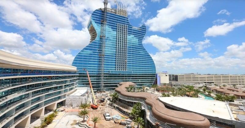 Rivière artificielle, suites avec piscine... En Floride, on s'apprête à ouvrir le premier hôtel du monde en forme de guitare et il sera fou  !