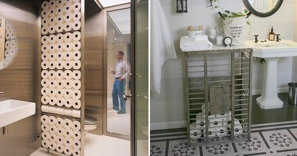 Intégrez les rouleaux de papier toilette... dans votre déco de salle de bains : ne les cachez plus !