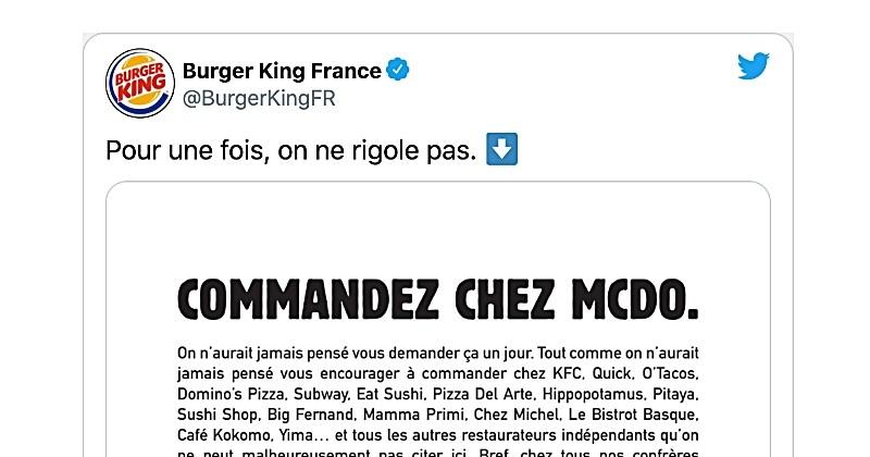 Burger King encourage à commander chez ses concurrents pour aider les restaurateurs face à la crise sanitaire
