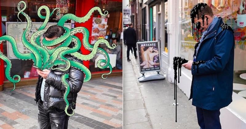 Pour illustrer l'addiction au smartphone, ces deux artistes réalisent des montages aussi amusants que saisissants
