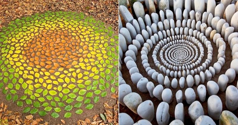 Avec ce qu'il trouve lors de ses promenades dans la nature, cet artiste réalise des oeuvres à couper le souffle