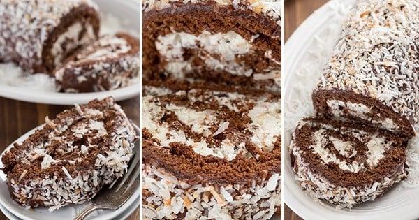roulé au chocolat et à la noix de coco