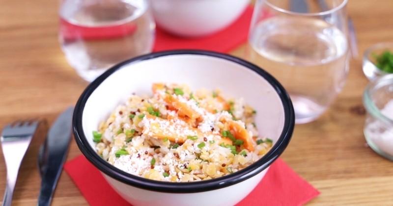 Idéale pour un déjeuner rapide, la salade de Lentilles Corail Faciles Lustucru Sélection