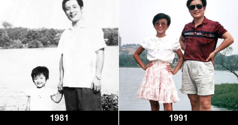 Pendant 40 ans, ce père et sa fille ont pris la pose au même endroit chaque année