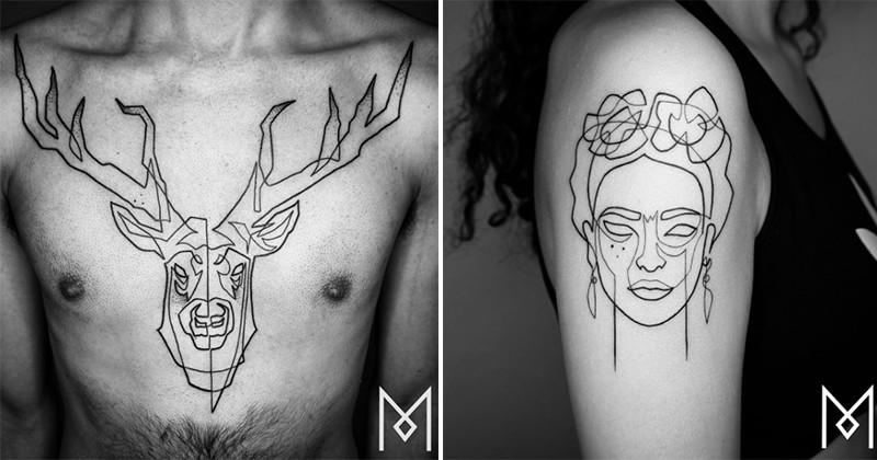 Cet artiste berlinois réalise des tatouages en un seul trait... le résultat est impressionnant!