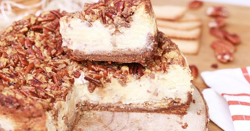 Décuplez la gourmandise de vos pâtisseries avec notre cheesecake façon tarte aux noix de pécan!
