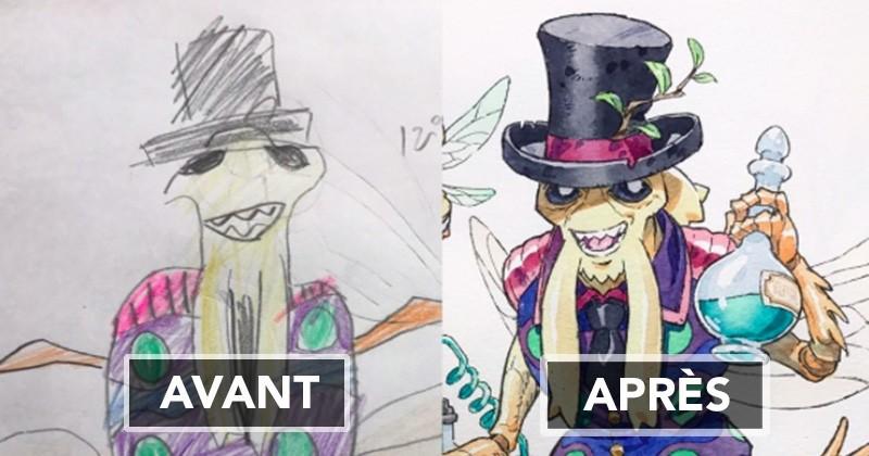 Dessinateur de métier, il se base sur les dessins de son fils pour créer de véritables personnages d'animes japonais