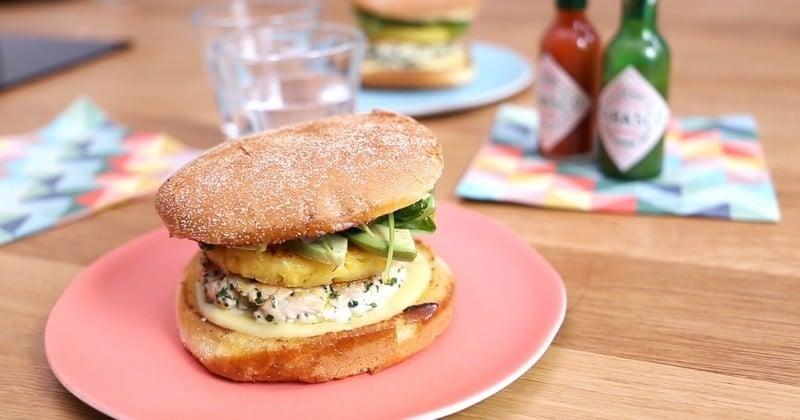 chicken burger à la sauce TABASCO® Vert