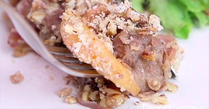crumble de pommes au sauté de porc
