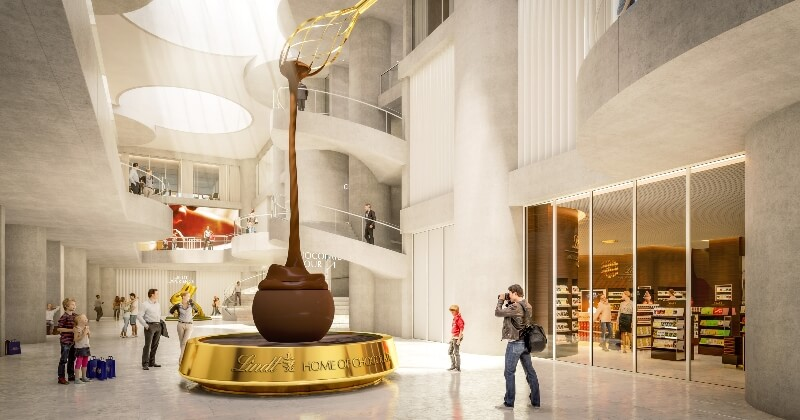 À Zurich, le nouveau musée « Home of Chocolate » créé par Lindt abrite la plus grande fontaine de chocolat du monde