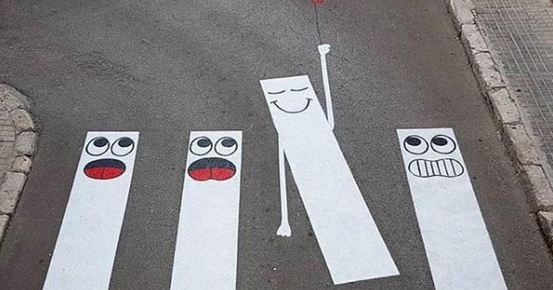 13 passages piétons détournés avec beaucoup de créativité par un street-artist français