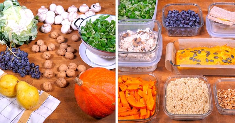 Passez moins de 2 heures en cuisine pour concocter votre menu de la semaine : cake potimarron, croque poires gorgonzola, riz de chou-fleur...