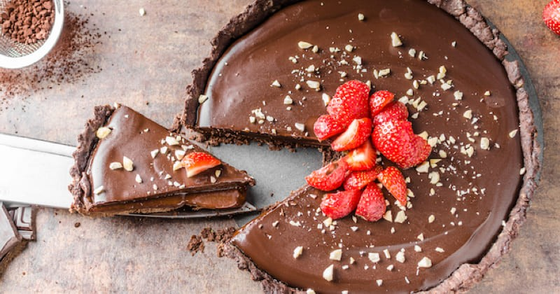 tarte au chocolat et aux fraises