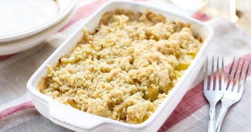 Cuisinez un crumble salé aux courgettes et fromage de chèvre