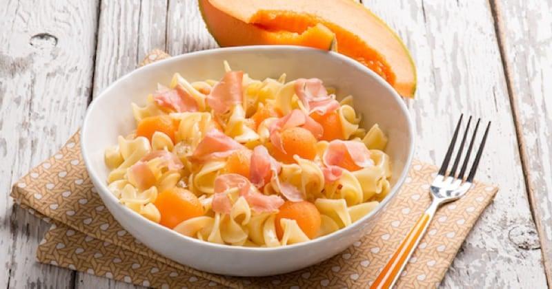 salade de pâtes, melon et jambon de parme