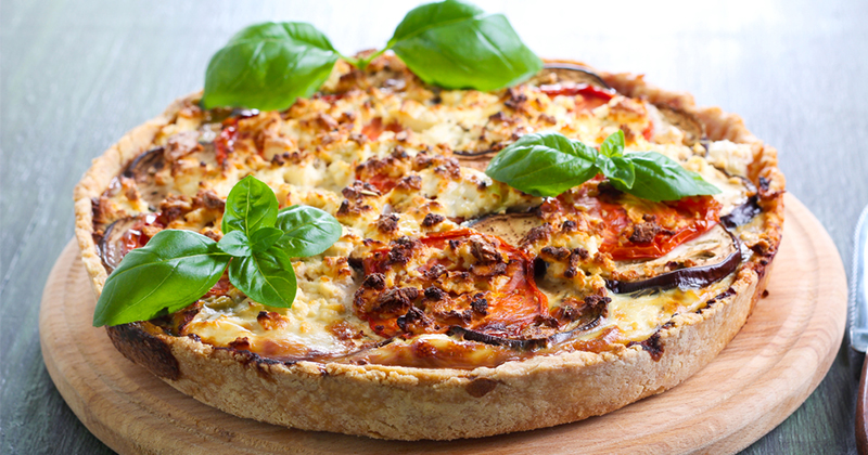 quiche de berenjena, tomate y mozzarella