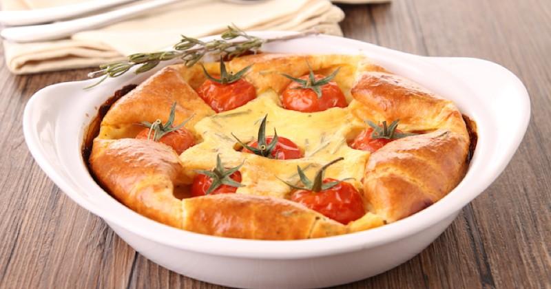 Clafoutis tomates cerises et mozzarella Recette