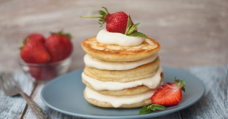 Pancakes aux fraises et crème pâtissière Recette