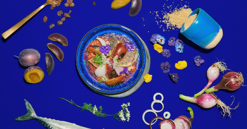 prunes bleues et maquereau grillés à la flamme, oignon rouge et fleur de coriandre