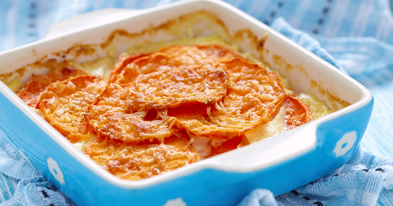 Gratin de patates douces au reblochon