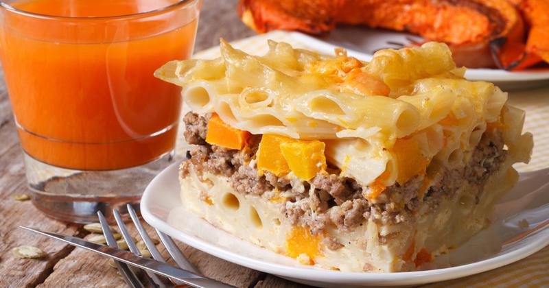 Gratin de pâtes à la courge butternut et à la mozzarella